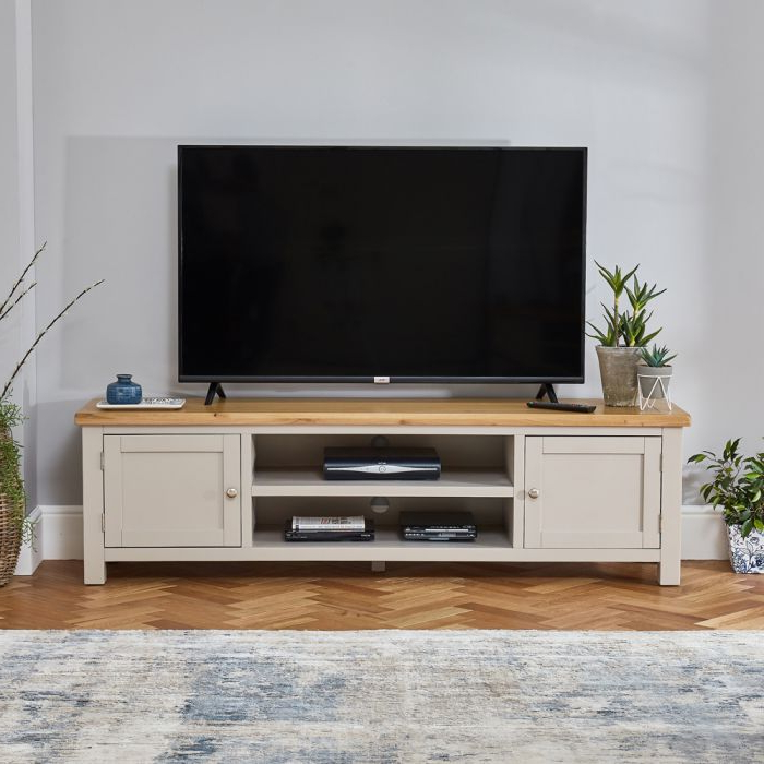 Cotswold Grey Painted Large Widescreen Tv Unit – Up To 80 In Cotswold Widescreen Tv Unit Stands (View 11 of 20)