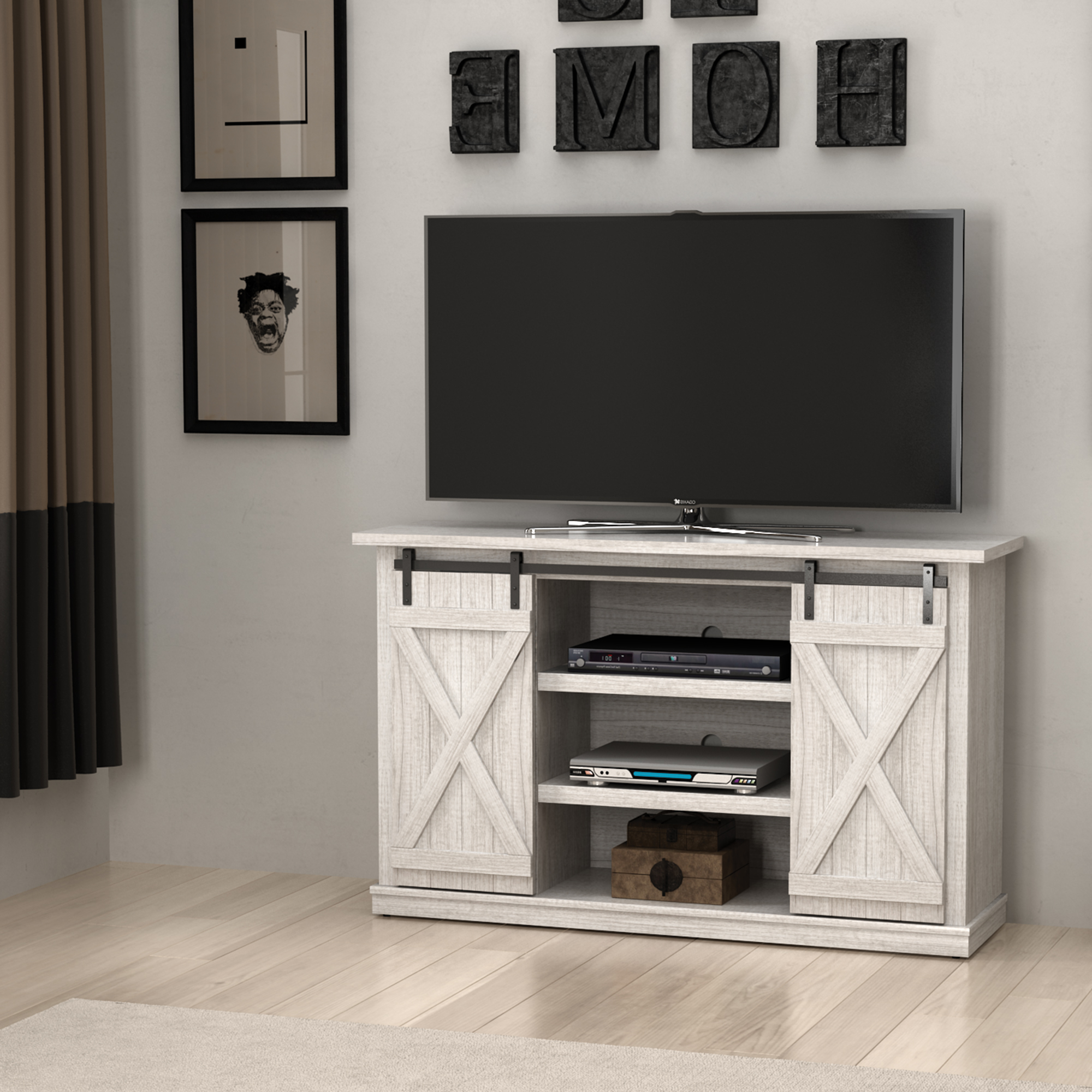 Cottonwood Tv Stand For Tvs Up To 60 Inches With Sliding Throughout Farmhouse Sliding Barn Door Tv Stands For 70 Inch Flat Screen (View 5 of 20)