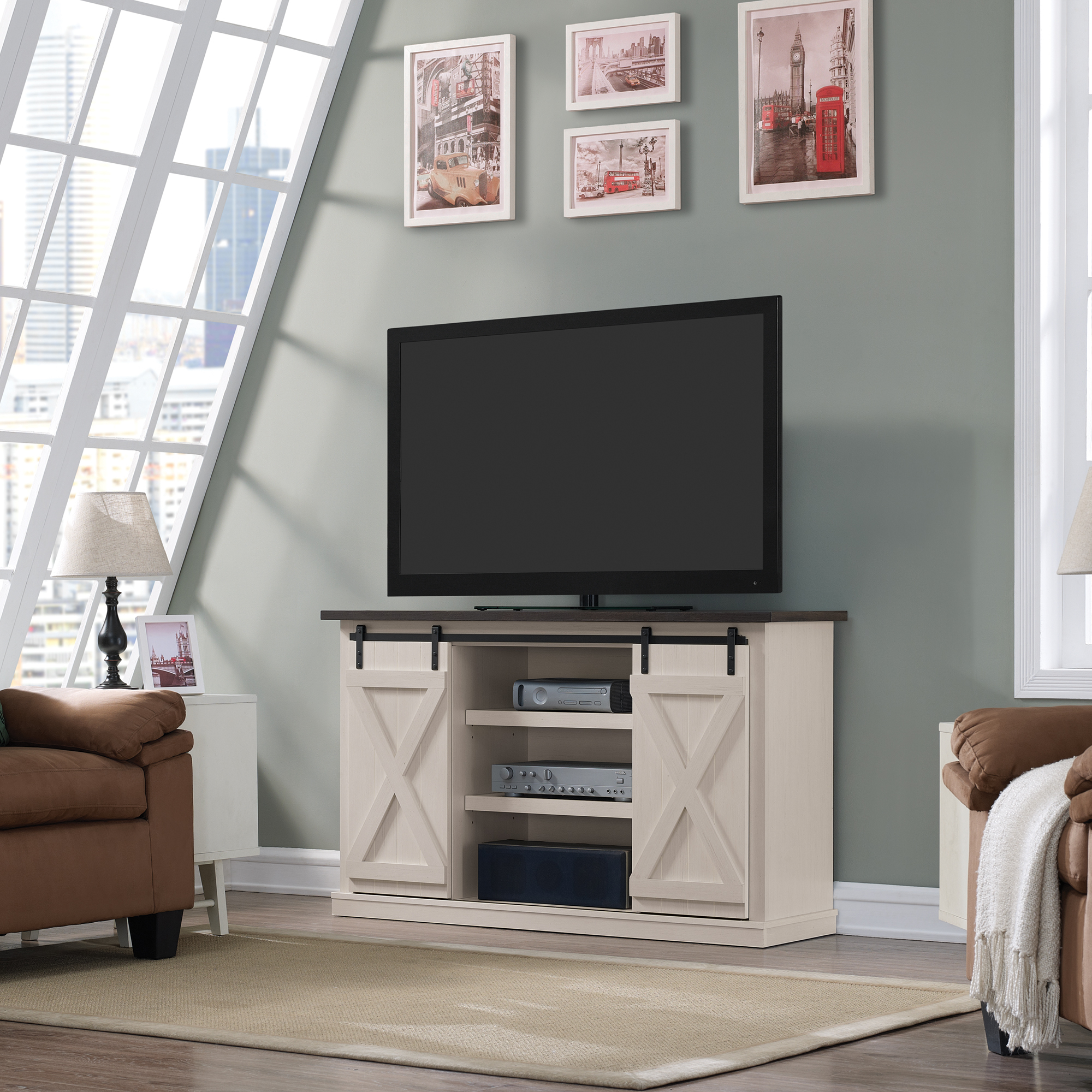 Cottonwood Tv Stand For Tvs Up To 60 Inches With Sliding Within Farmhouse Sliding Barn Door Tv Stands For 70 Inch Flat Screen (View 15 of 20)