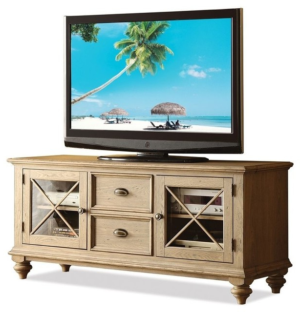 Coventry Tv Console (weathered Driftwood And Dover White Intended For Tasi Traditional Windowpane Corner Tv Stands (View 10 of 20)