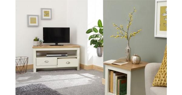 Cream Oak Top Lancaster Living Room 2 Drawer Shelf Corner With Regard To Lancaster Corner Tv Stands (View 17 of 20)