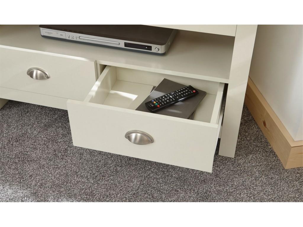 Cream Oak Top Lancaster Living Room 2 Drawer Shelf Corner With Regard To Lancaster Large Tv Stands (View 8 of 20)
