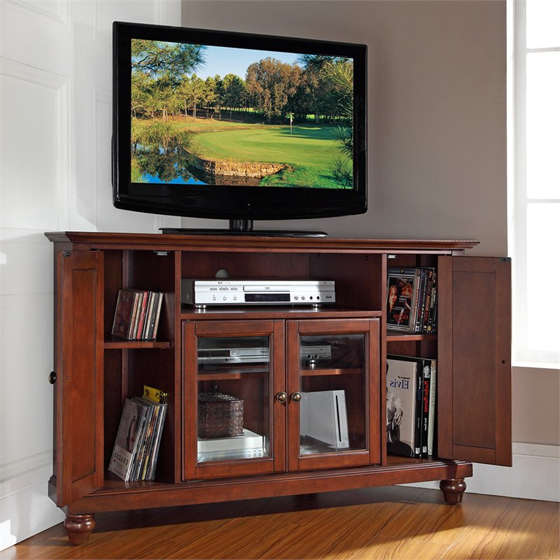 """Crosley Cambridge 48"""" Corner Tv Stand In Mahogany – Kf10006dma Intended For Alexandria Corner Tv Stands For Tvs Up To 48"""" Mahogany (View 15 of 20)"""