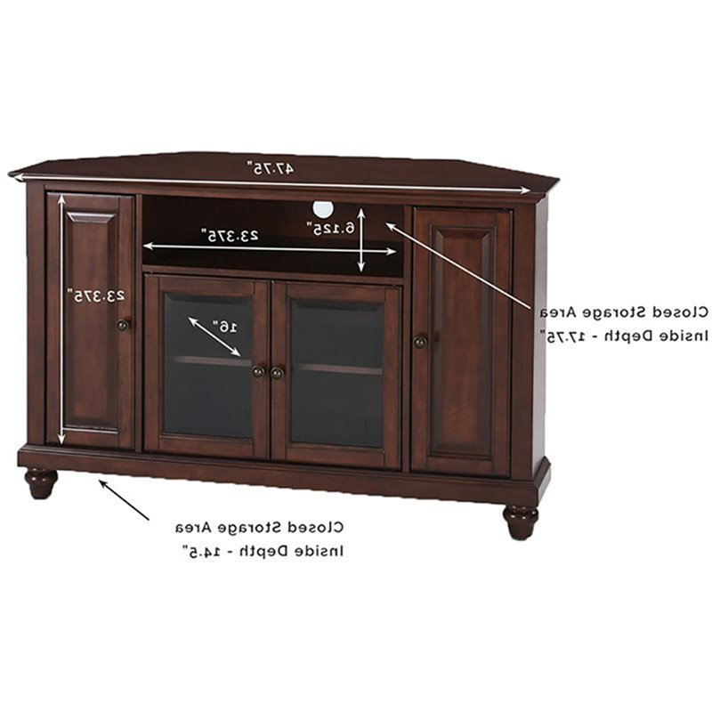 """Crosley Cambridge 48"""" Corner Tv Stand In Mahogany – Kf10006dma With Corner Tv Stands For Tvs Up To 48"""" Mahogany (View 11 of 20)"""