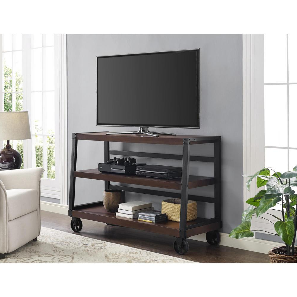 Crosley Cambridge Mahogany Entertainment Center Kf10003dma In Easyfashion Modern Mobile Tv Stands Rolling Tv Cart For Flat Panel Tvs (View 6 of 20)