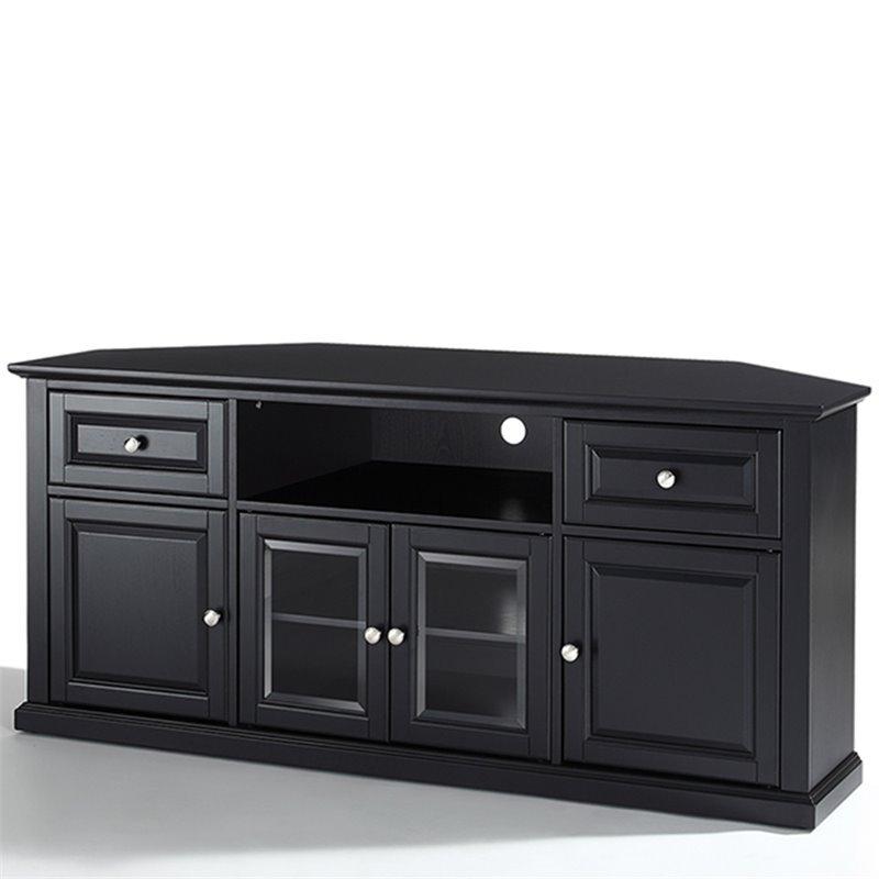 "Crosley Furniture 60"" Corner Black Tv Stand   Ebay In Tasi Traditional Windowpane Corner Tv Stands (View 9 of 20)"