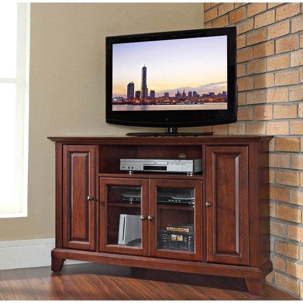 """Crosley Furniture Kf10006cma – Newport 48"""" Corner Tv Stand Throughout Corner Tv Stands For Tvs Up To 48"""" Mahogany (View 6 of 20)"""
