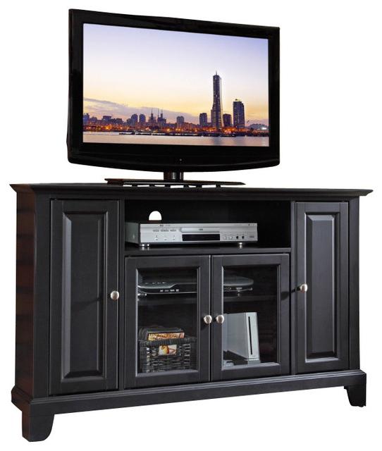 Crosley Furniture Newport 48 Inch Corner Tv Stand In Black With Regard To Contemporary Black Tv Stands Corner Glass Shelf (View 16 of 20)