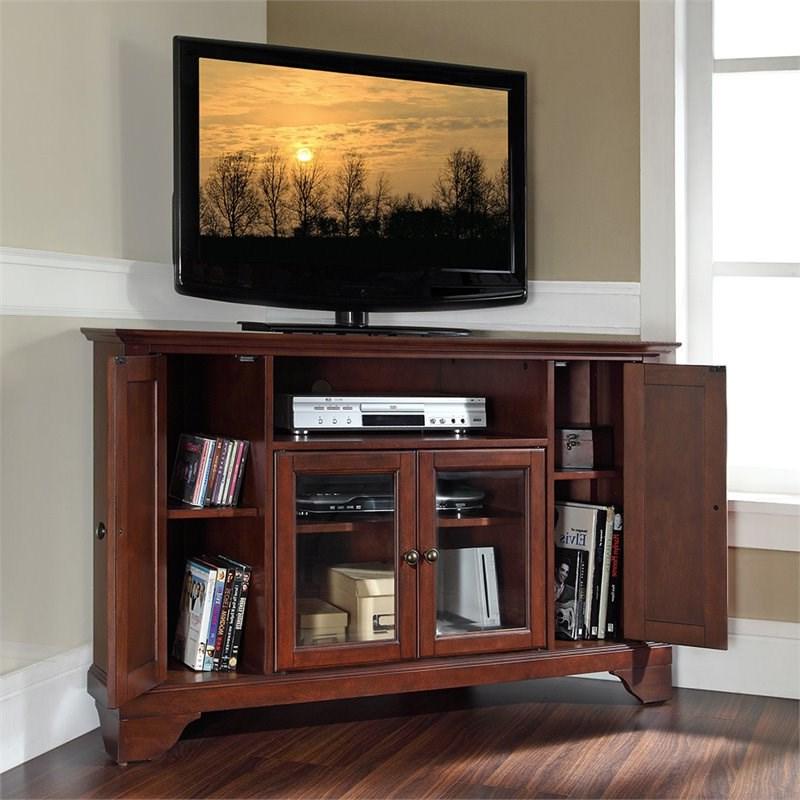"Crosley Lafayette 48"" Corner Tv Stand In Mahogany – Kf10006bma In Alexandria Corner Tv Stands For Tvs Up To 48"" Mahogany (View 11 of 20)"