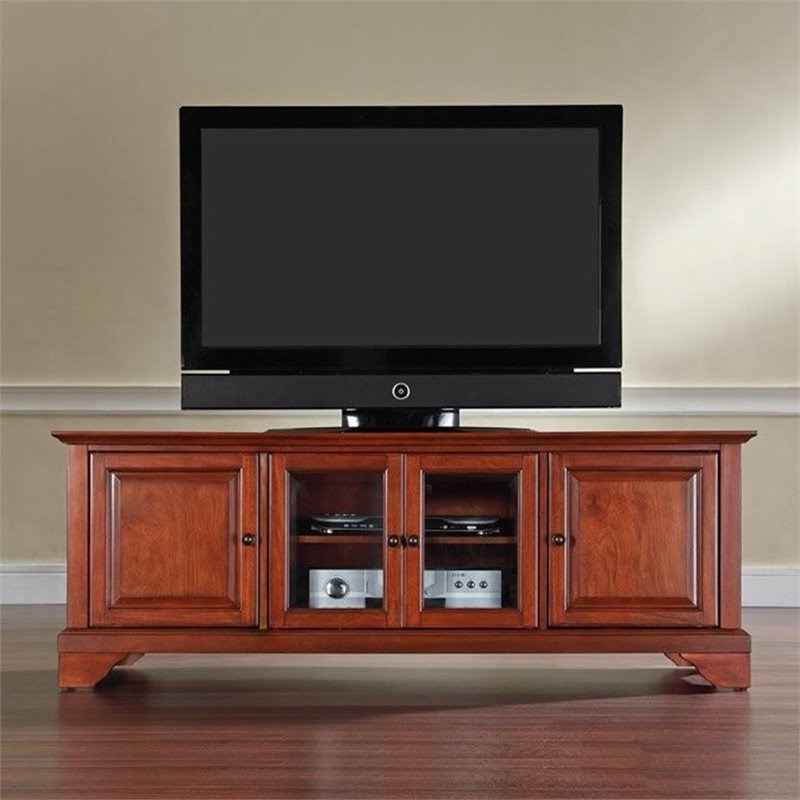 """Crosley Lafayette 60"""" Low Profile Tv Stand In Cherry Within Lorraine Tv Stands For Tvs Up To 60"""" (View 11 of 20)"""
