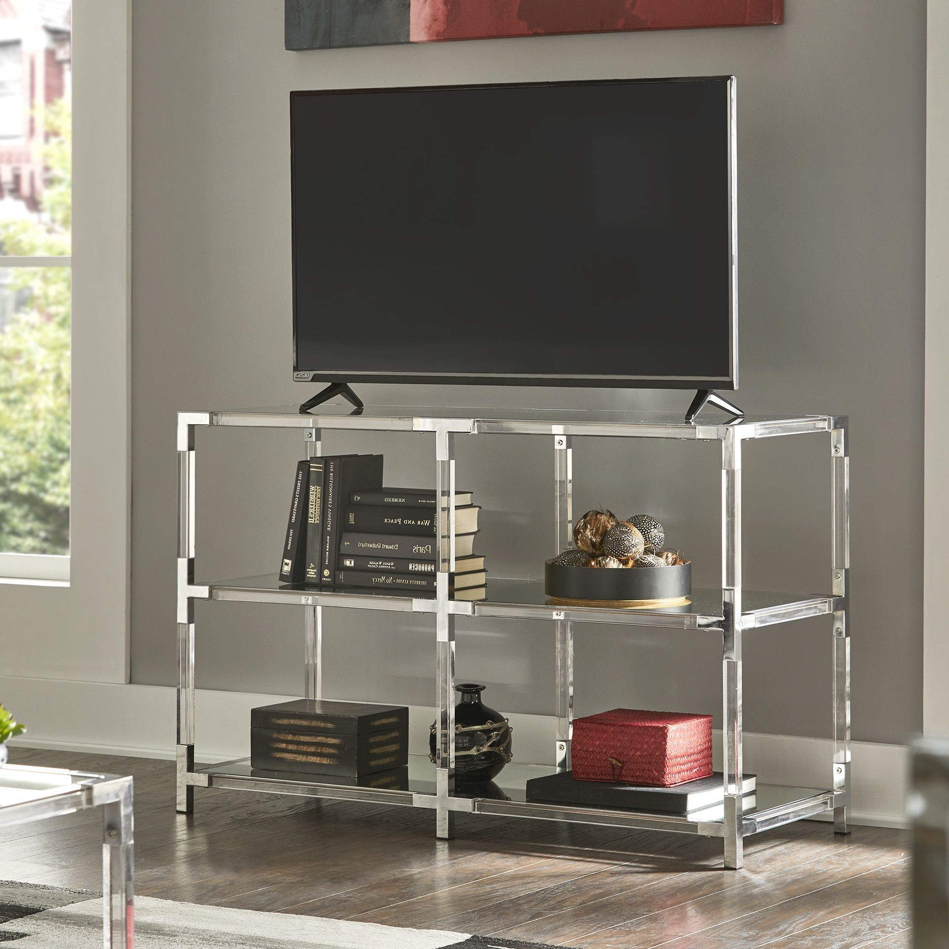 Cyrus Clear Chrome Corner Mirrored Shelf Sofa Table Tv With Fitzgerald Mirrored Tv Stands (View 18 of 20)