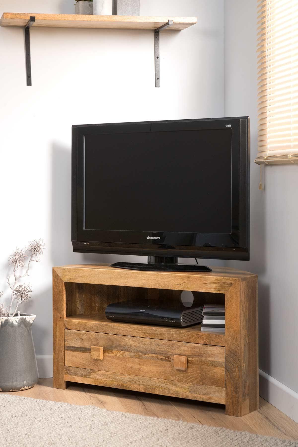 Dakota Light Mango Small Corner Tv Stand | Casa Bella With Regard To Hex Corner Tv Stands (View 14 of 20)
