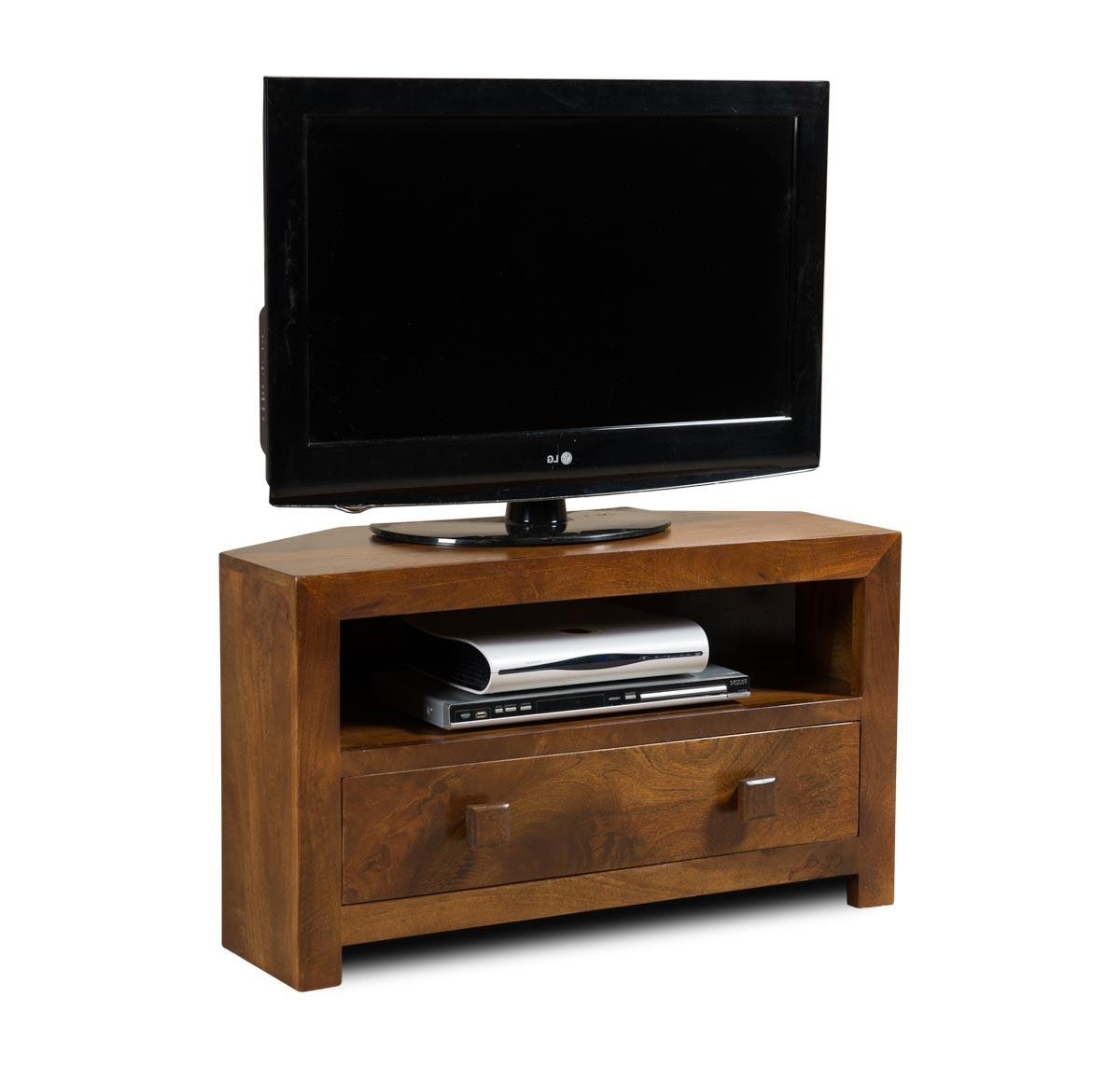 Dakota Mango Small Corner Tv Stand | Casa Bella Furniture Uk With Regard To Manhattan Compact Tv Unit Stands (View 11 of 20)
