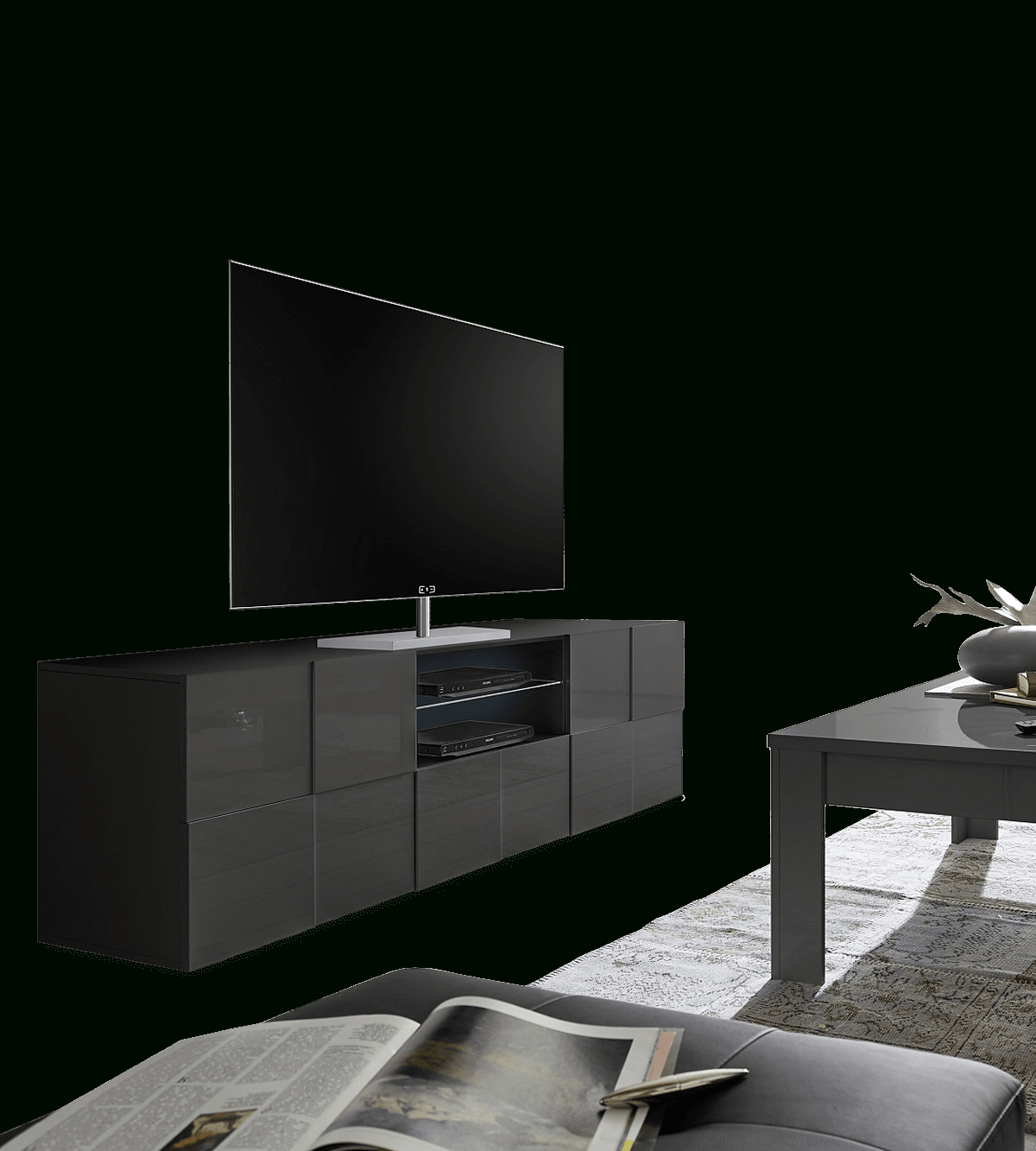 Dama – Entertainment – Living – Indoor | Contemporary Tv For Ktaxon Modern High Gloss Tv Stands With Led Drawer And Shelves (View 4 of 20)