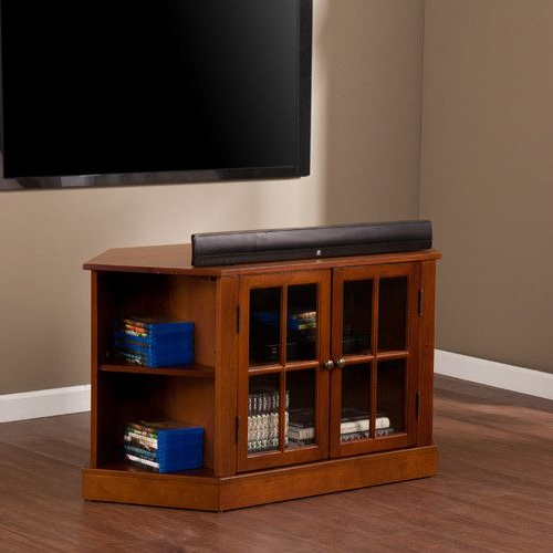 """Darby Home Co® Lasalle 46"""" Corner Tv Stand   Corner Tv Within Compton Ivory Corner Tv Stands (View 7 of 20)"""