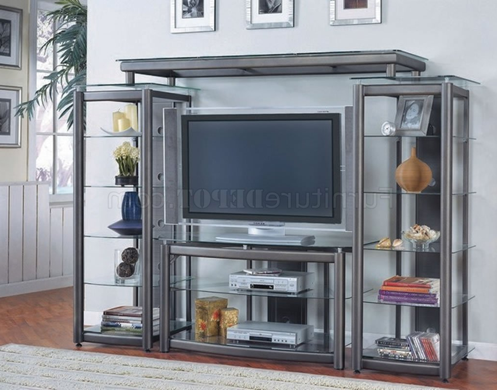 Dark Gray Contemporary Tv Stand W/glass Shelves With Glass Shelf With Tv Stands (View 13 of 20)