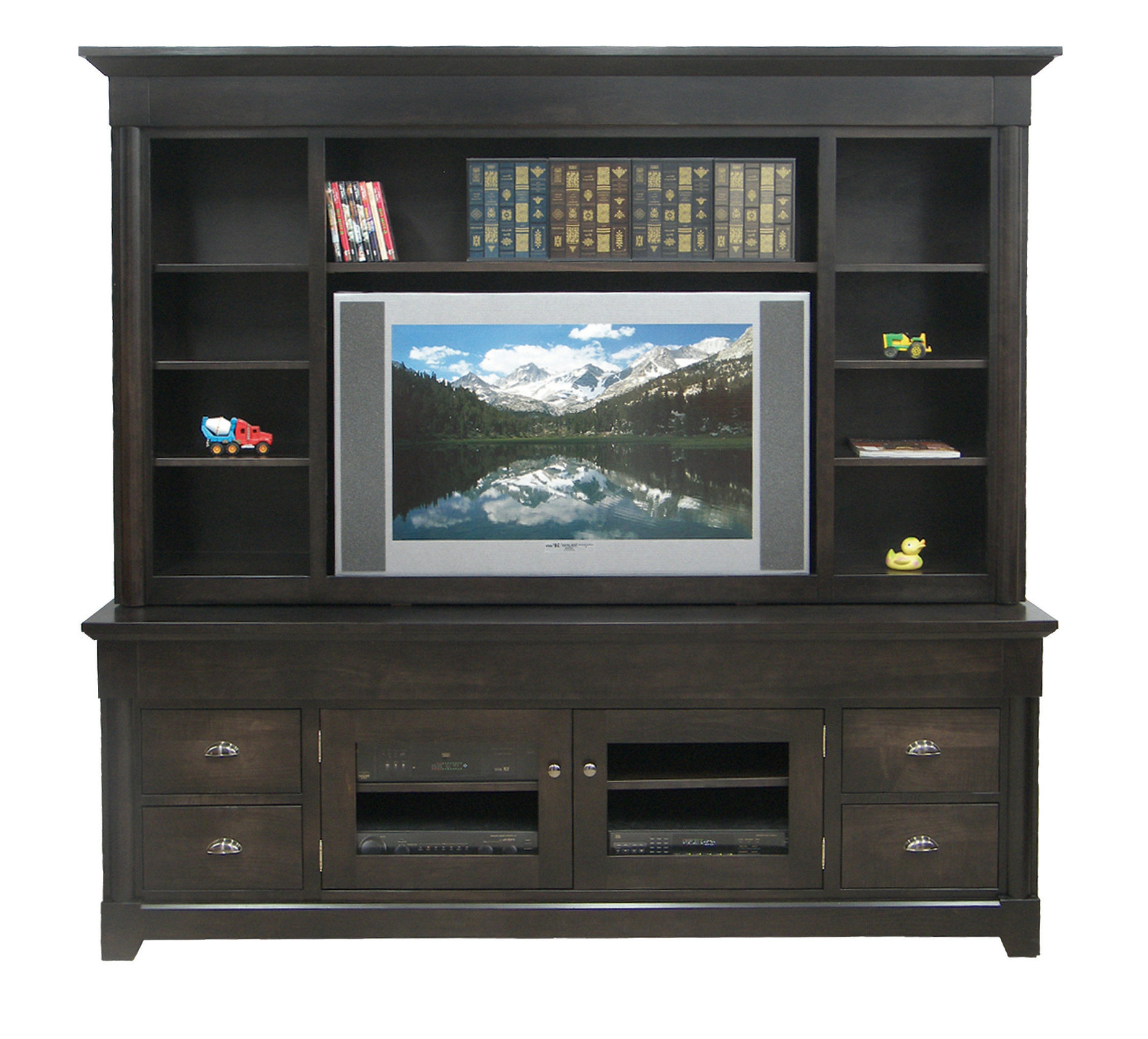 """Dark Wide Tv Stand With Hutch – Eco Friendly Entertainment Intended For Casey May Tv Stands For Tvs Up To 70"""" (View 7 of 20)"""