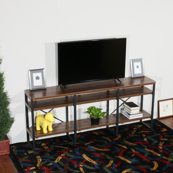Davee Furniture Open Antigue Wood Shelves 4 Tier In Tier Entertainment Tv Stands In Black (View 2 of 20)