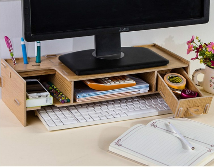 Desktop Monitor Stand, Wooden Monitor Riser Tv Stand, With Throughout Space Saving Gaming Storage Tv Stands (View 6 of 20)