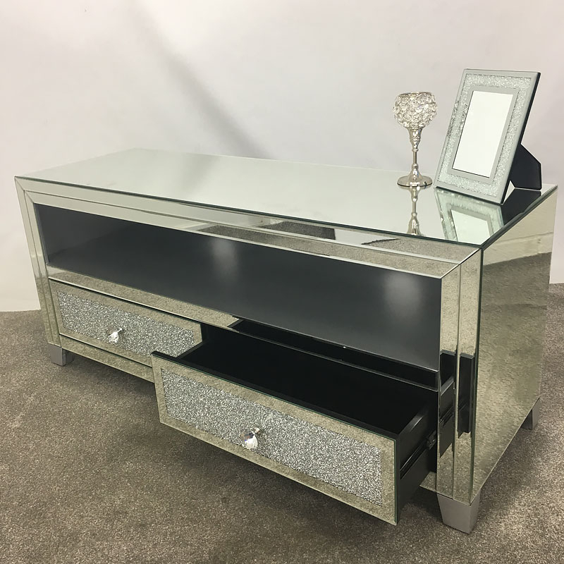 Diamond Glitz Mirrored Tv Cabinet Stand   Picture Perfect Home With Regard To Fitzgerald Mirrored Tv Stands (View 10 of 20)
