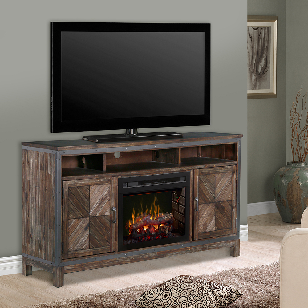 """Dimplex Wyatt 25"""" Electric Fireplace Tv Stand In Barley In Claudia Brass Effect Wide Tv Stands (View 16 of 20)"""