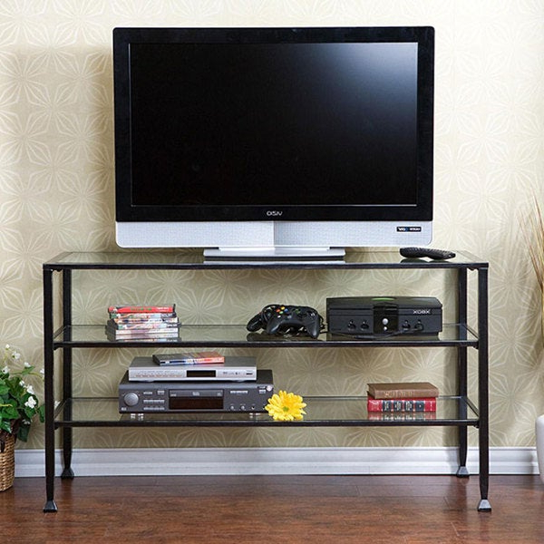 Distressed Metal/ Glass Tv Stand – Free Shipping Today For Modern Black Tv Stands On Wheels With Metal Cart (View 7 of 20)