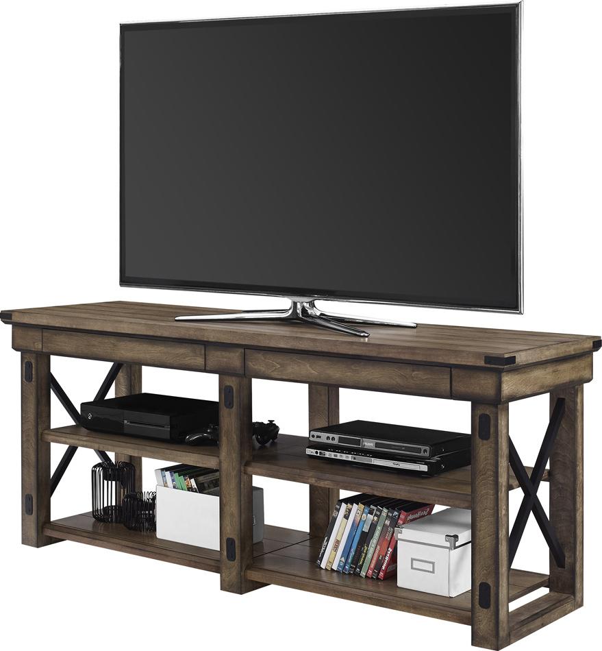 """Dorel Wildwood 65 Inch Tv Stand Grey Wood Veneer For Inch Regarding Grenier Tv Stands For Tvs Up To 65"""" (View 14 of 20)"""