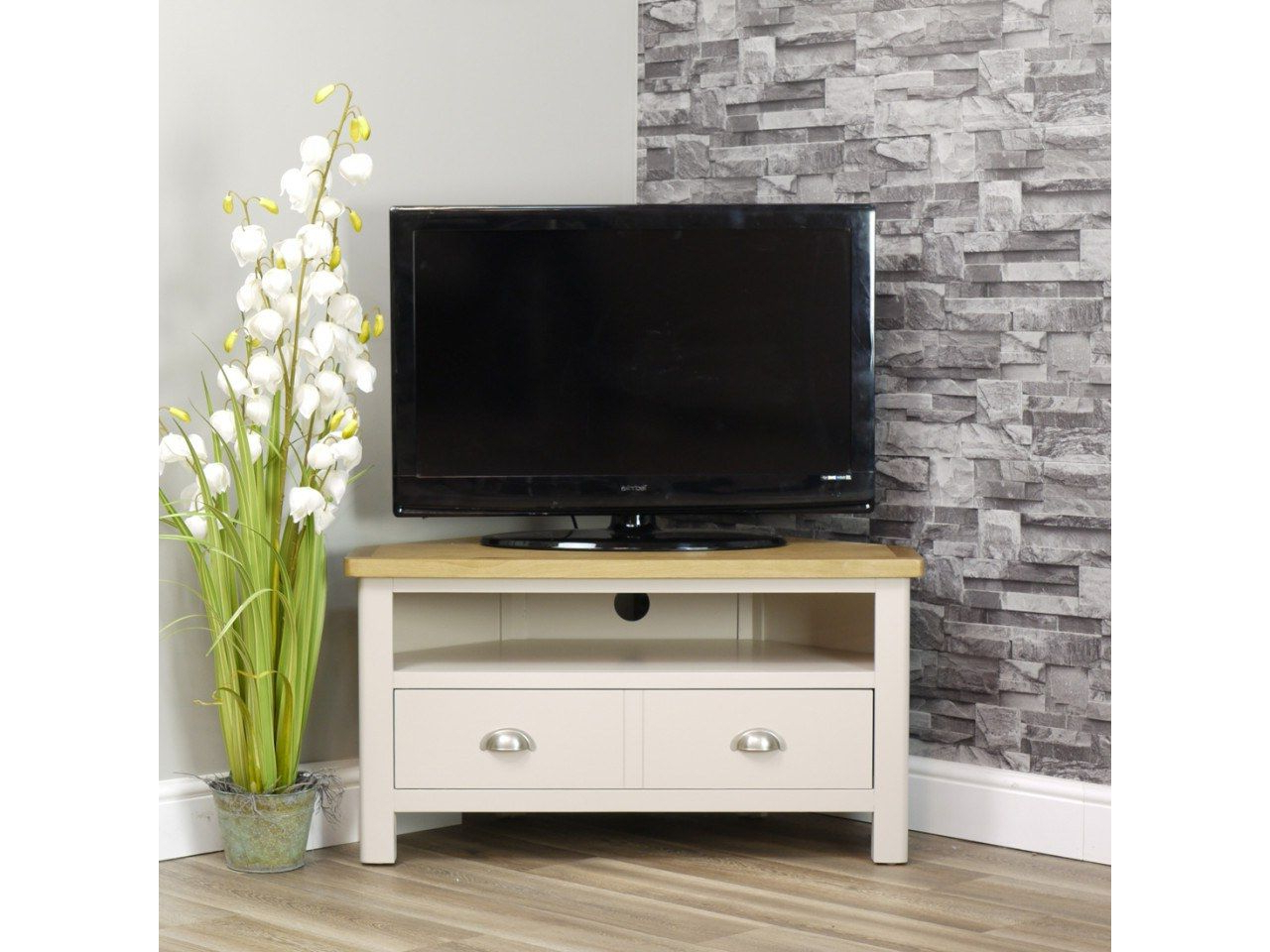 Dorset Oak 90cm Corner Tv Unit For Screens Up To 42 Intended For Penelope Dove Grey Tv Stands (View 3 of 20)