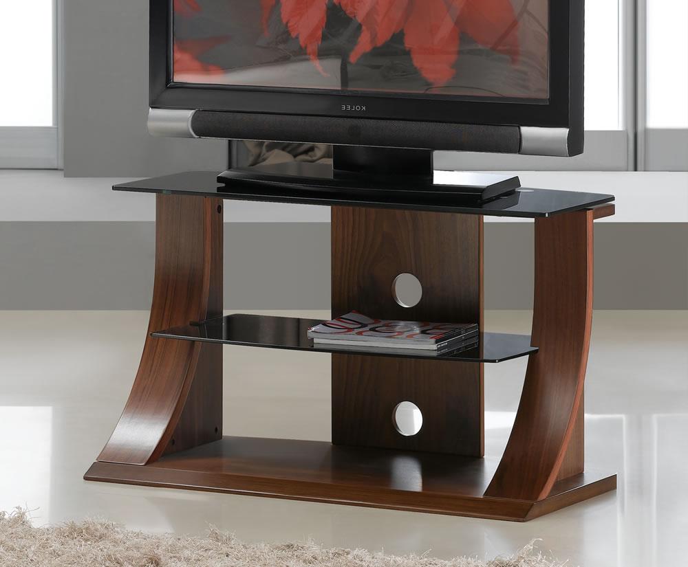Dudley Small Walnut Glass Tv Stand Regarding Manhattan Compact Tv Unit Stands (View 3 of 20)
