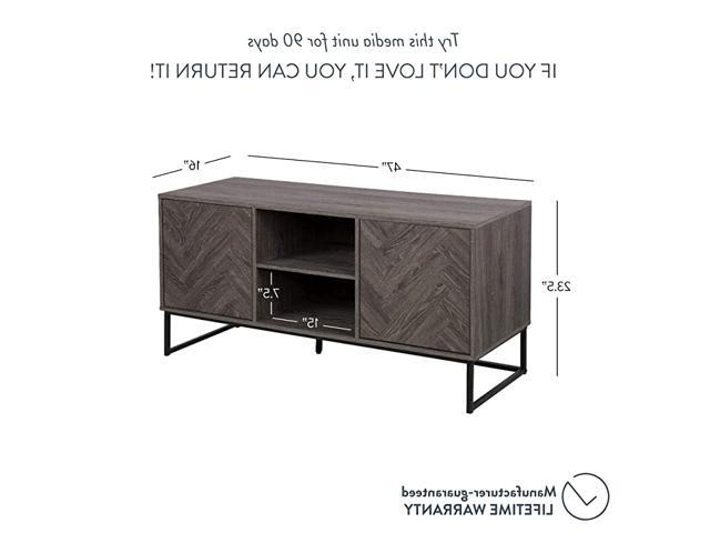 Dylan Media Console Cabinet Or Tv Stand With Doors For With Media Console Cabinet Tv Stands With Hidden Storage Herringbone Pattern Wood Metal (View 1 of 20)