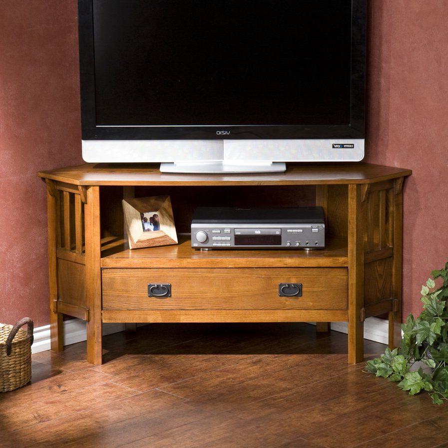 "Easmor Corner 48"" Tv Stand | Oak Corner Tv Stand, Corner In Lionel Corner Tv Stands For Tvs Up To 48"" (View 2 of 20)"