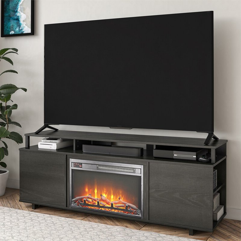 """Ebern Designs Chet Tv Stand For Tvs Up To 65"""" With For Rickard Tv Stands For Tvs Up To 65"""" With Fireplace Included (View 15 of 20)"""