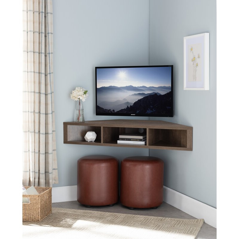 """Ebern Designs French Floating Corner Tv Stand For Tvs Up Regarding Camden Corner Tv Stands For Tvs Up To 50"""" (View 8 of 20)"""