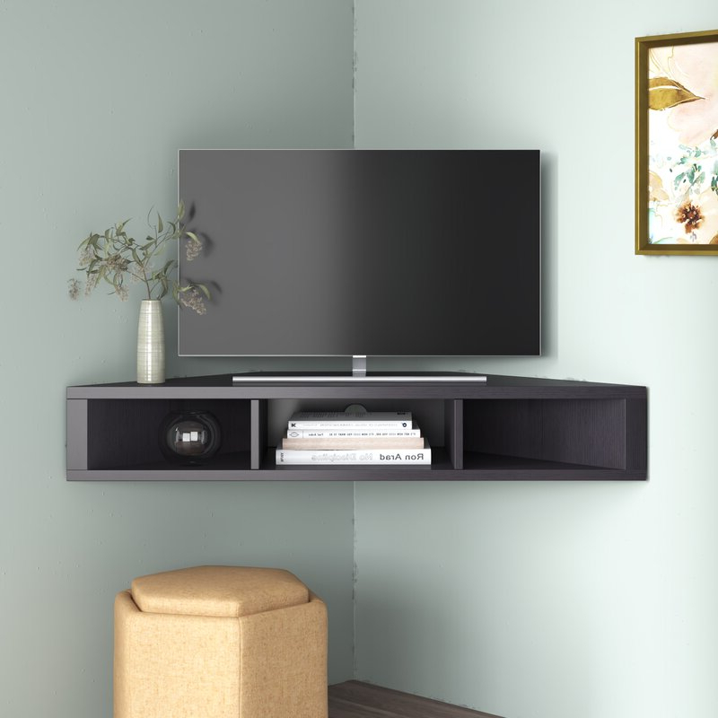 """Ebern Designs French Floating Corner Tv Stand For Tvs Up Within Leonid Tv Stands For Tvs Up To 50"""" (View 13 of 20)"""