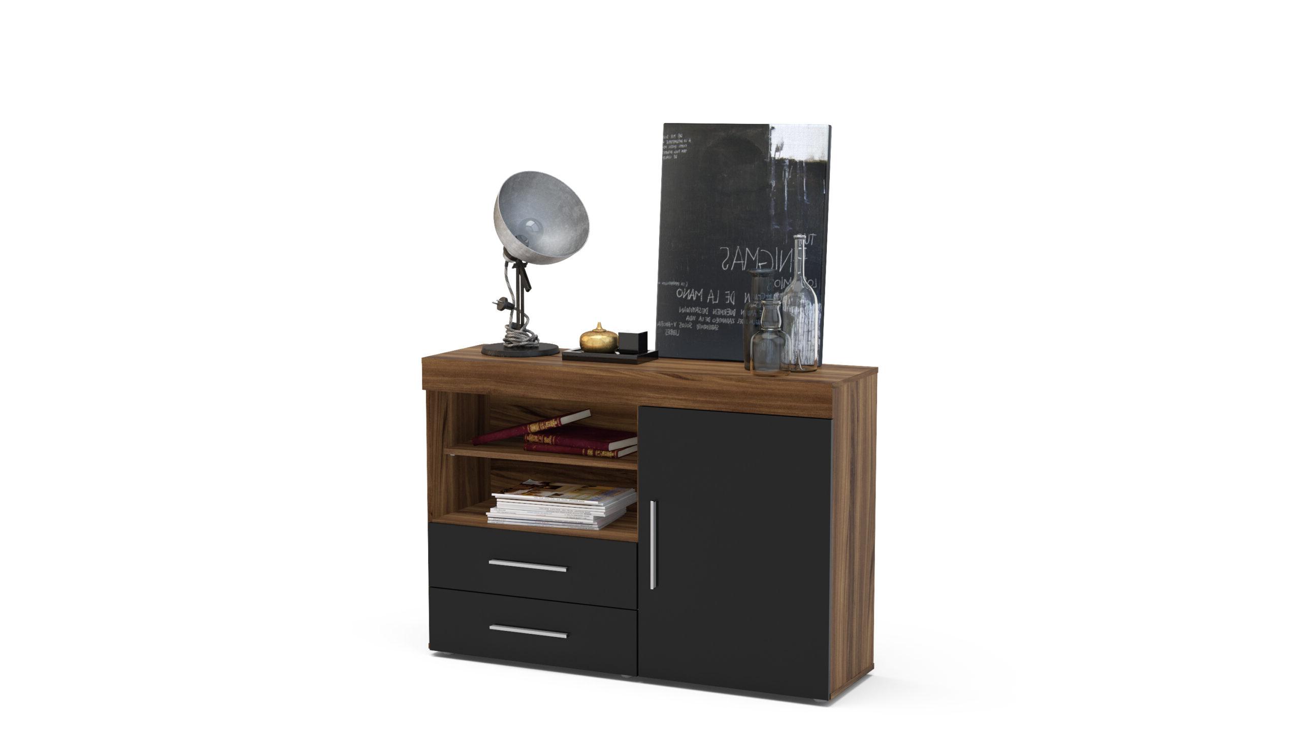 Edgeware 1 Door 2 Drawer Sideboard Walnut & Black – Niture Uk Pertaining To Edgeware Tv Stands (View 6 of 20)