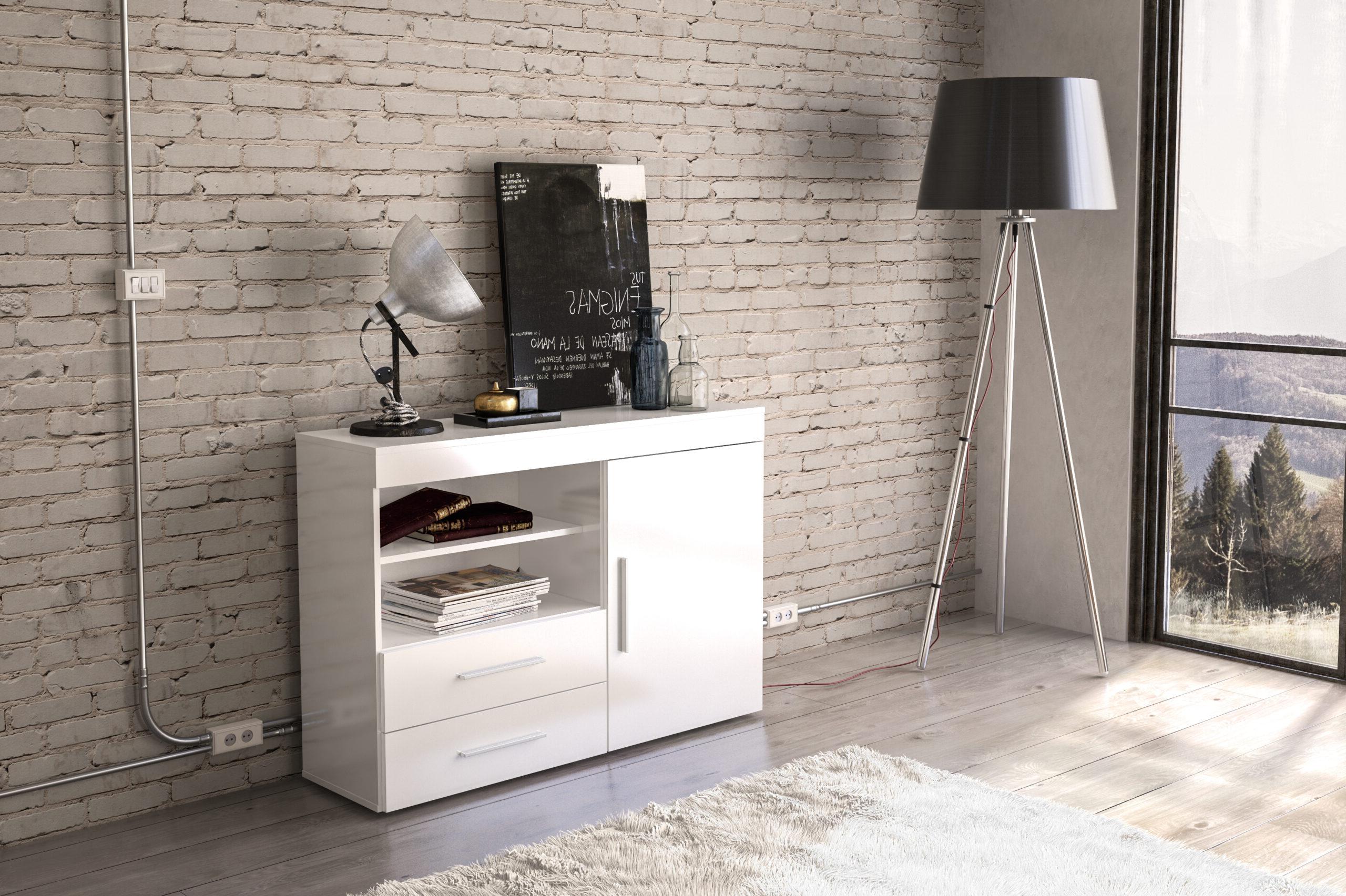 Edgeware 1 Door 2 Drawer Sideboard White – Niture Uk Regarding Edgeware Tv Stands (View 10 of 20)