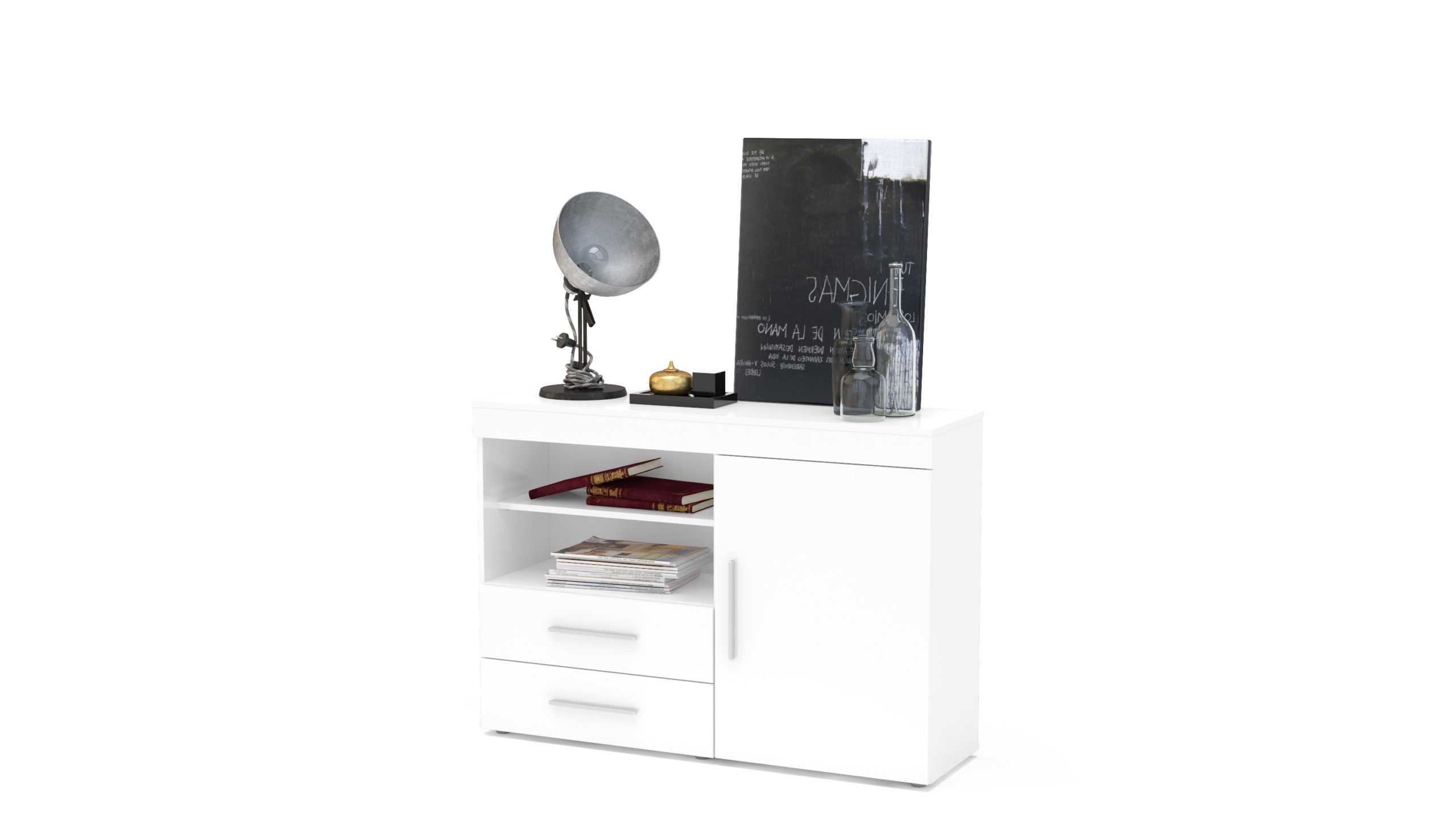 Edgeware 1 Door 2 Drawer Sideboard White – Niture Uk Throughout Edgeware Tv Stands (View 11 of 20)