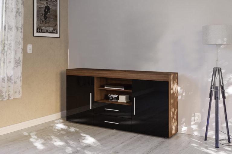 Edgeware 2 Door 2 Drawer Sideboard Walnut & Black – Niture Uk Within Edgeware Tv Stands (View 9 of 20)