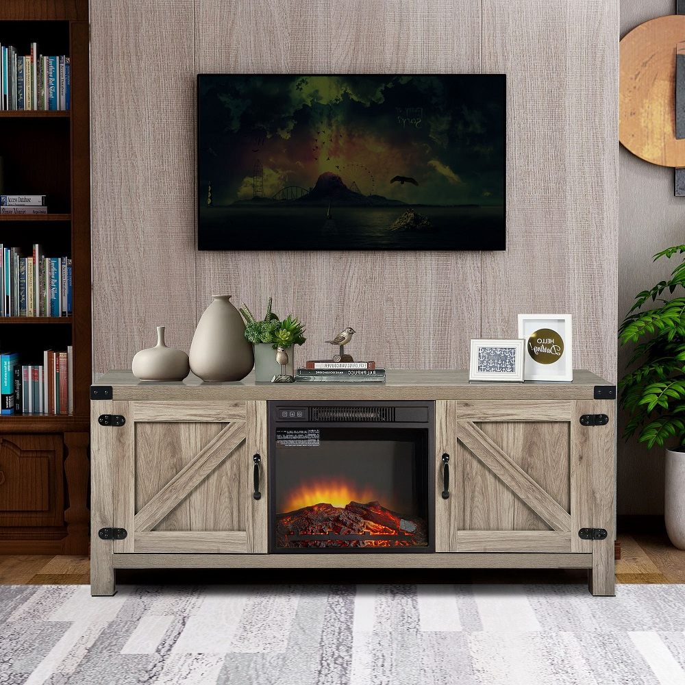 Electric Fireplace Tv Console With Remote, Farmhouse Tv Throughout Barn Door Wood Tv Stands (View 8 of 20)