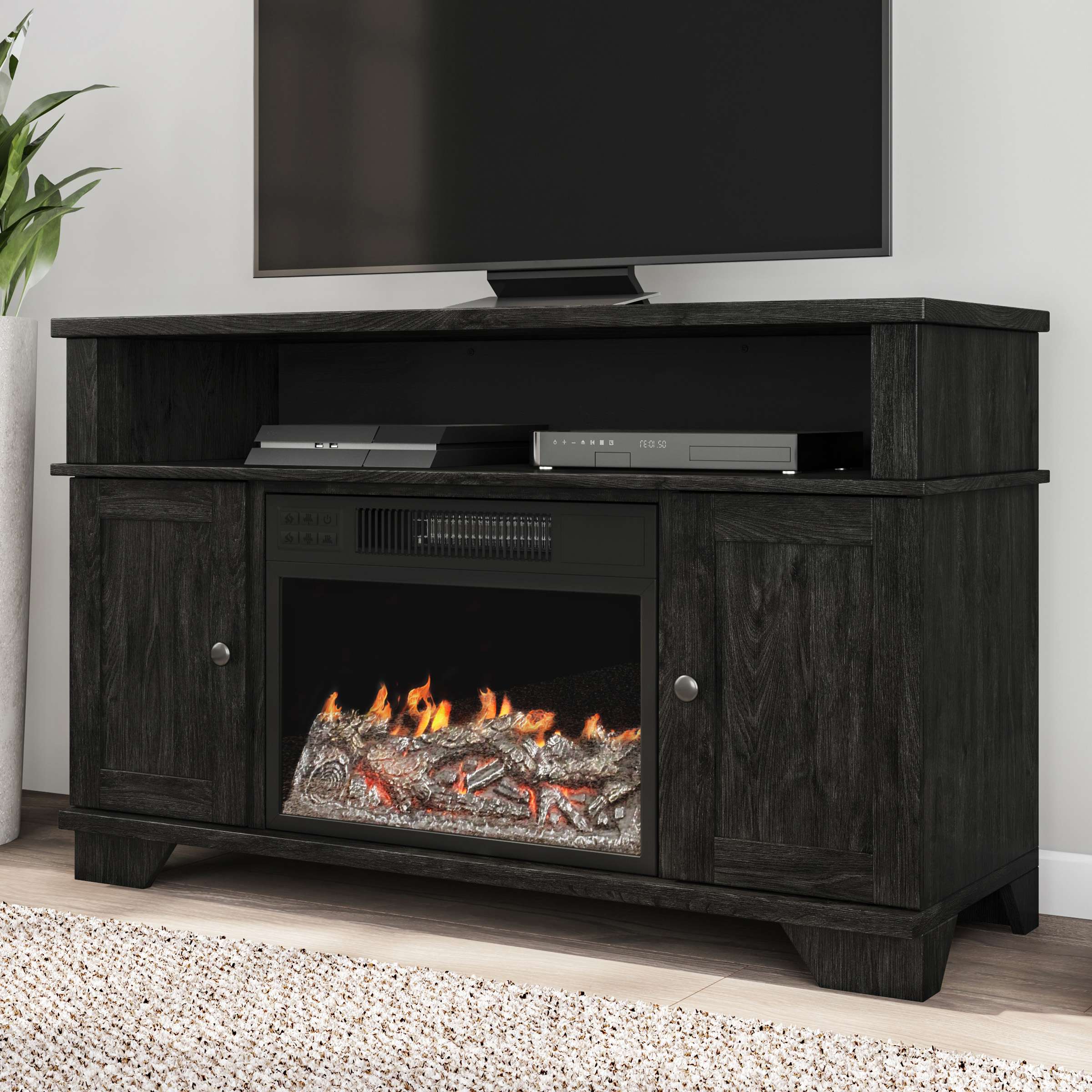 """Electric Fireplace Tv Stand  For Tvs Up To 47"""", Media In Tv Stands Cabinet Media Console Shelves 2 Drawers With Led Light (View 17 of 20)"""