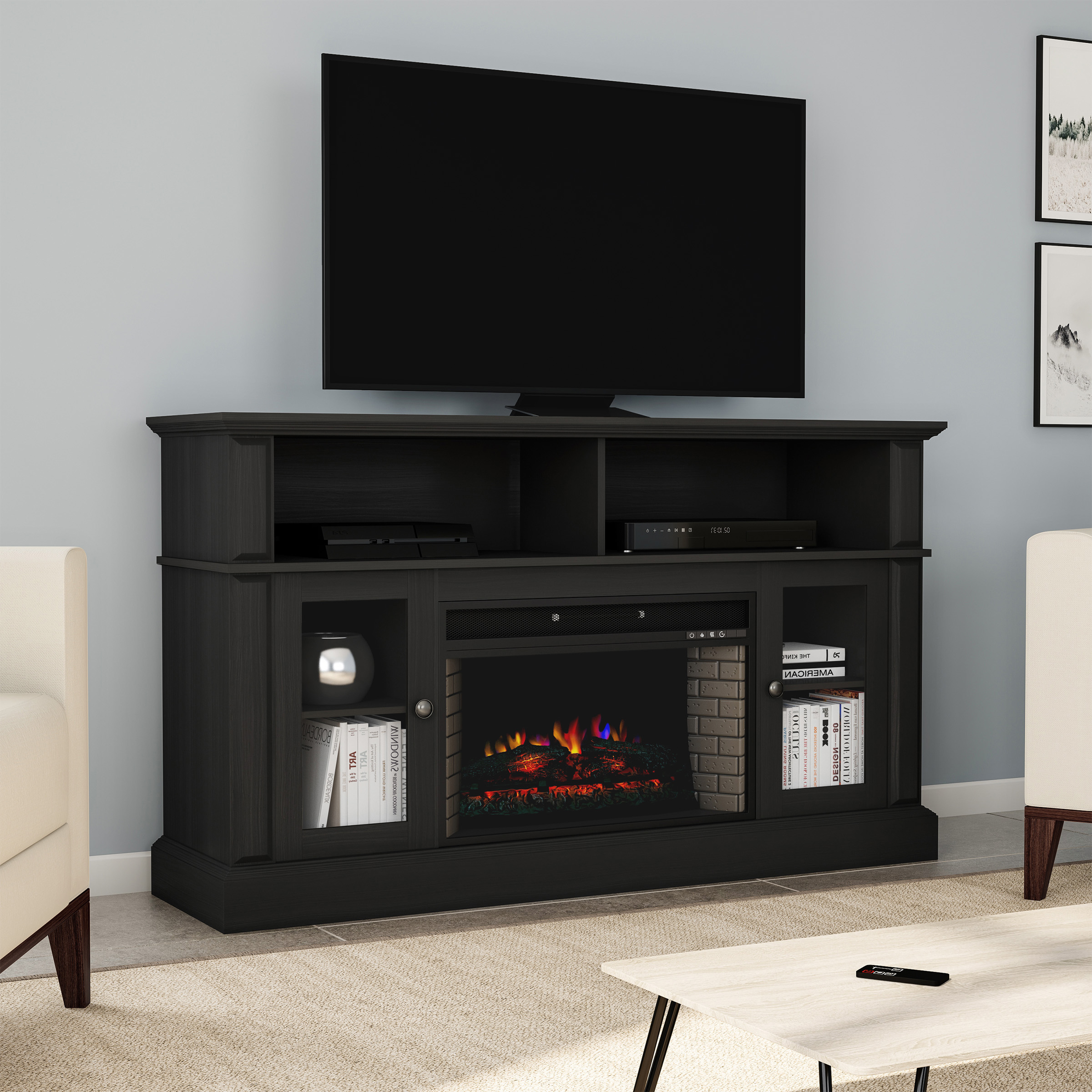 """Electric Fireplace Tv Stand For Tvs Up To 59"""" Console With Throughout Tv Stands Cabinet Media Console Shelves 2 Drawers With Led Light (View 9 of 20)"""