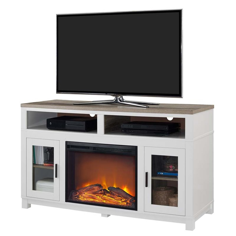 Electric Fireplace Tv Stand In White – 1774296com With Regard To Electric Fireplace Tv Stands With Shelf (View 13 of 20)