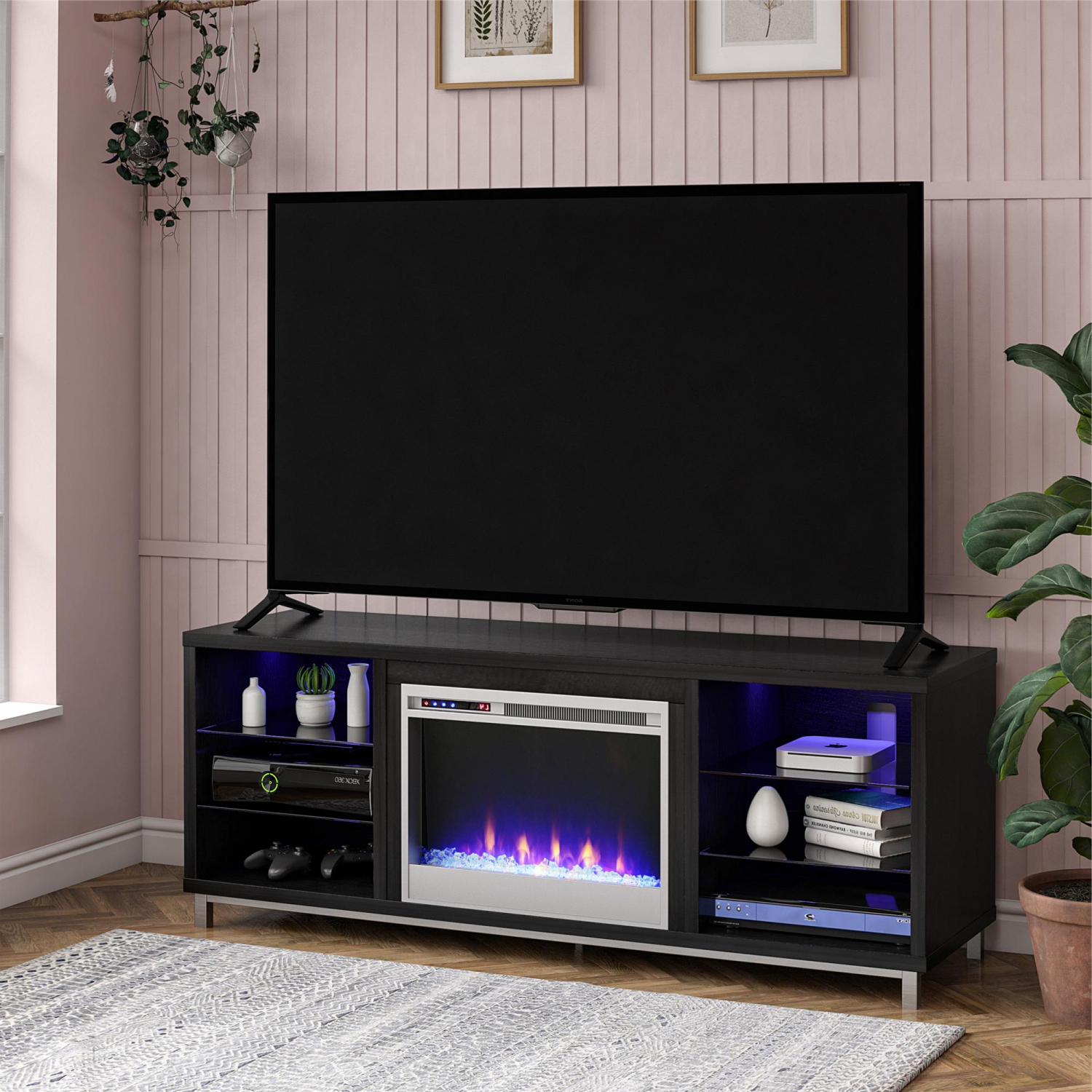 """Electric Lumina Fireplace Tv Stand For Tvs Up To 70 Wide Regarding Broward Tv Stands For Tvs Up To 70"""" (View 2 of 20)"""