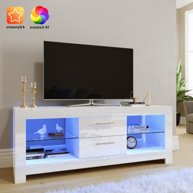 Elegant 1300mm Gloss White Modern Led Tv Unit Stand (upto Pertaining To Milano White Tv Stands With Led Lights (View 15 of 20)