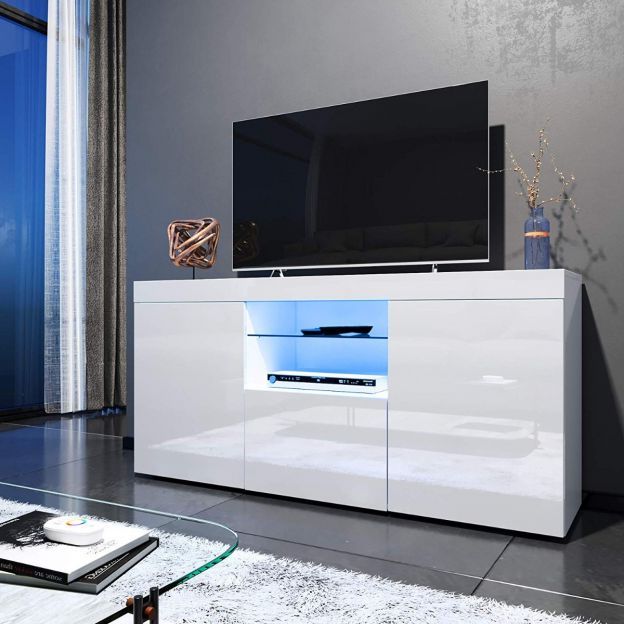 Elegant 1350mm Gloss Black Modern Multi Colour Led Tv Unit Regarding Hannu Tv Media Unit White Stands (View 17 of 20)