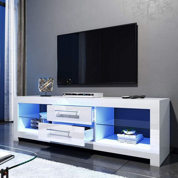 Elegant 1600mm Gloss White Modern Multi Colour Led Tv Unit Pertaining To 57'' Led Tv Stands Cabinet (View 8 of 20)