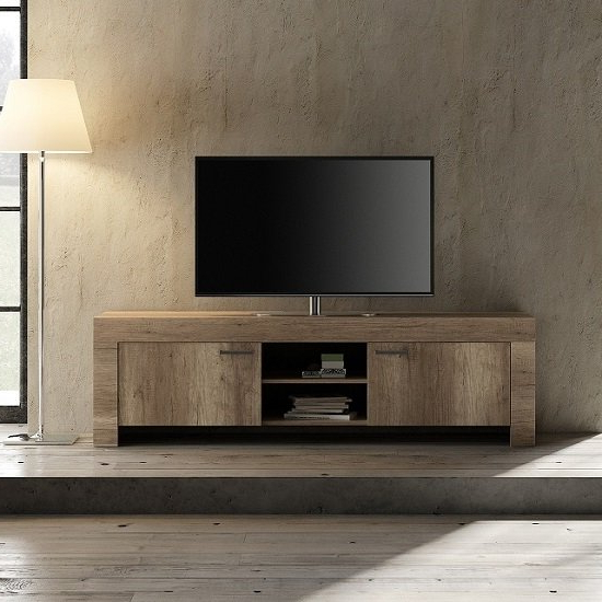 Ellie Wooden Tv Stand Wide In Canyon Oak With 2 Doors For Canyon Oak Tv Stands (View 1 of 20)