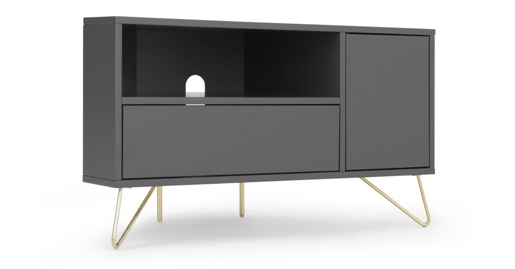 Elona Corner Media Unit, Charcoal And Brass | Media Unit With Fulton Corner Tv Stands (View 10 of 20)