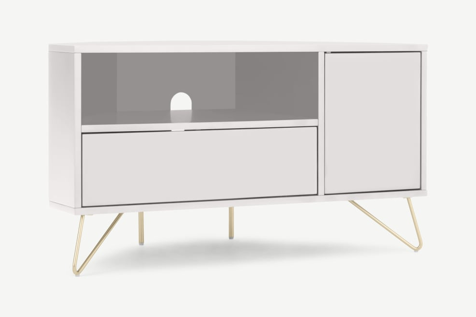 Elona Corner Media Unit, Ivory White & Brass | Made Within Compton Ivory Corner Tv Stands With Baskets (View 14 of 20)