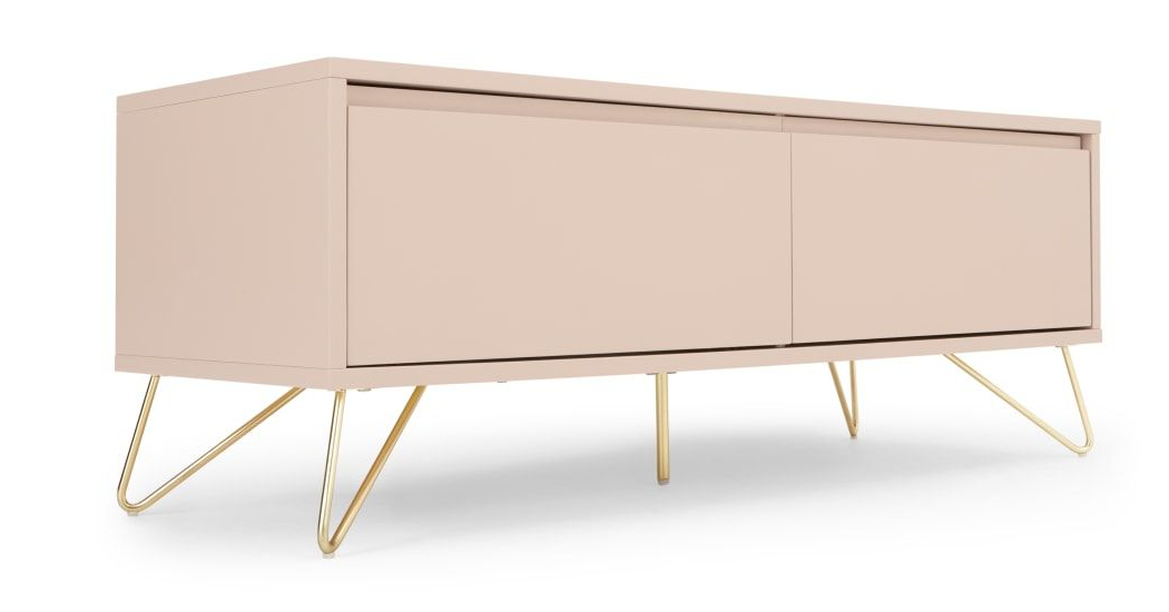 Elona Media Unit, Pink And Brass   Media Unit, Living Room For Lucy Cane Grey Wide Tv Stands (View 8 of 20)